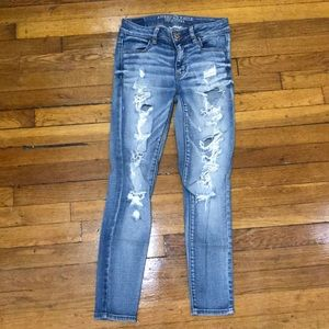 AE Destroyed Mid-Rise Jegging Ankle Size 4